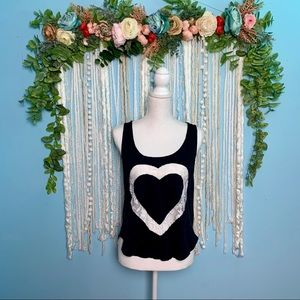 Stranded Lace Cut Out Heart Tank Medium